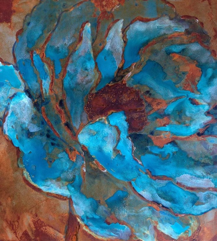 Fantasy flower canvas art created with the help of the Modern Masters Metal Effects Rust Finish by artist Patricia Presto of On the Surface Designs