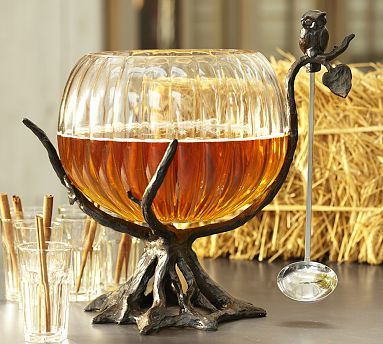 Owl Tree Punch Bowl Stand with Ladle #potterybarn