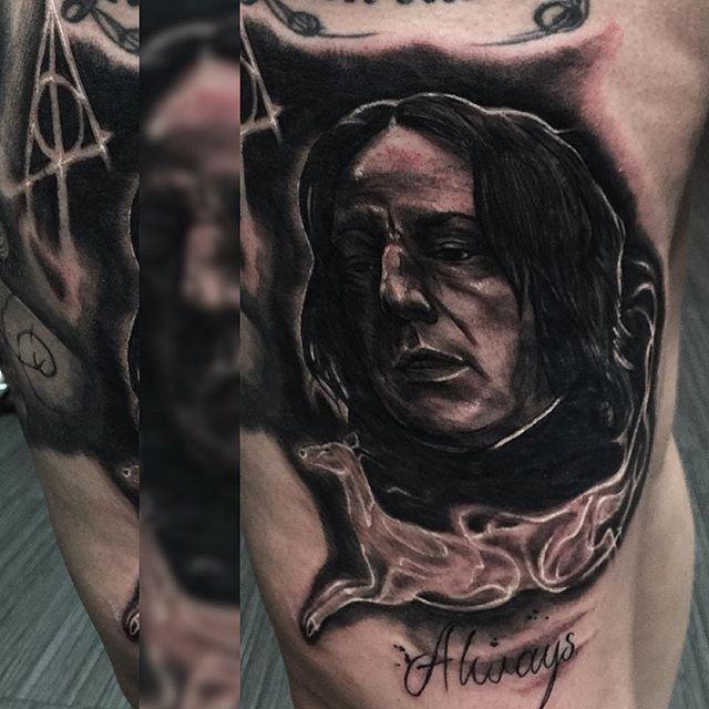 Always. #mawdsleygreywash #inkjecta #hustlebutterdeluxe #electrumstencilprimer #portrait #realism #harrypotter #alanrickman #snape #patronus #deathlyhallows #geektattoo #cooltattoos #radtattoos #tattoo #tattoos #tattooedgirls #tattooist #inkersdownunder #deadcherub #willtattooforchange