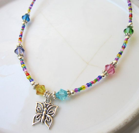 Colorful Childrens Butterfly Necklace. Girls Butterfly Multi Color Necklace. Childs Spring Jewelry. Childrens Jewelry via Etsy
