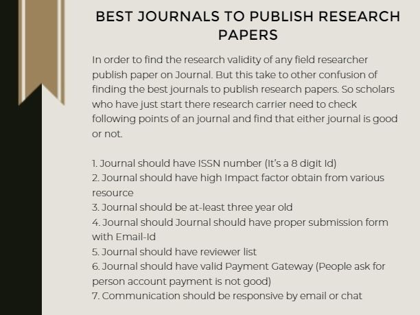 Best Journals To Publish Research Papers Research Paper Journal Publishing