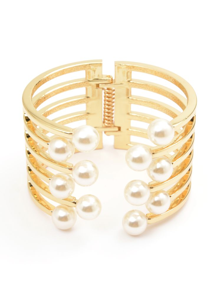 Open Pearl Party Cuff - Gold
