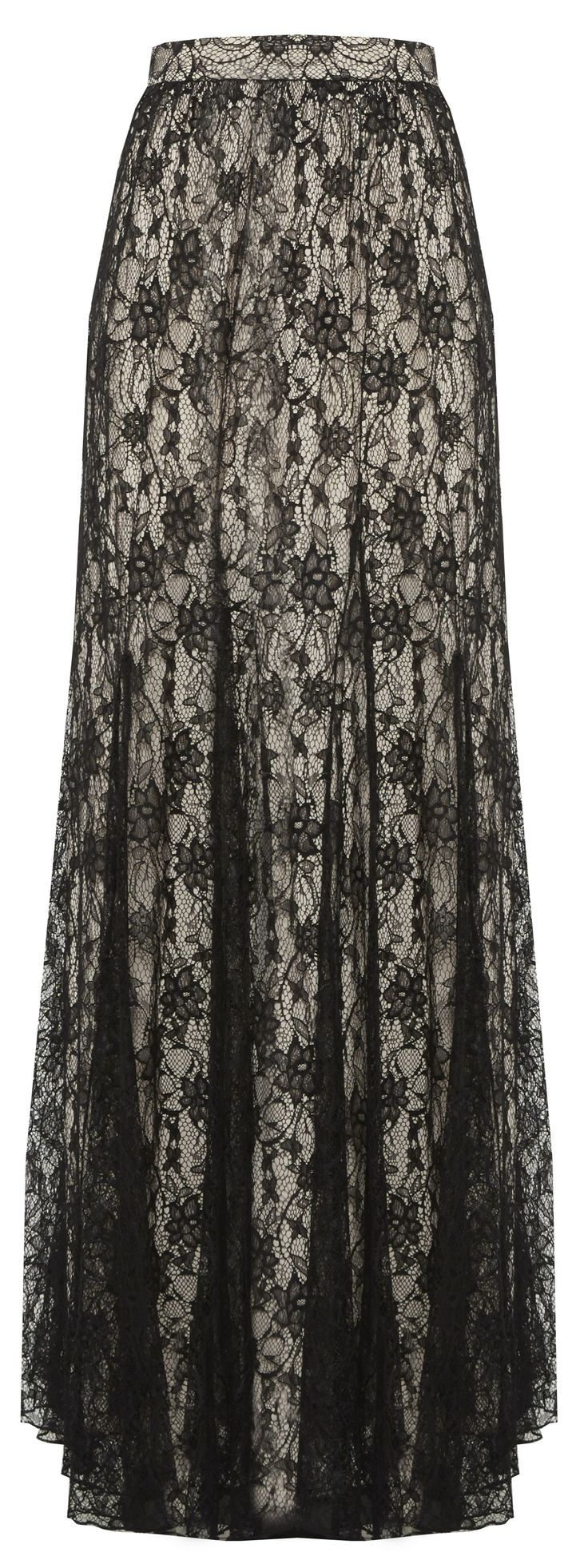 LOUIE LONG LACE SKIRT WITH GODETS