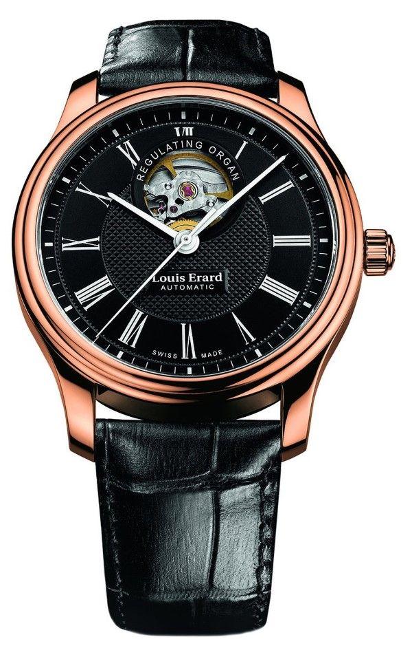 Men watches : Louis Erard Gold Collection Swiss Automatic Black Dial Men's Watch 60267PR42