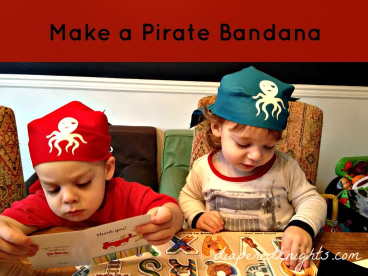 DIY Pirate bandanas for kids. How to make pirate bandanas for kids. Cheap Pirate Party birthday favors.