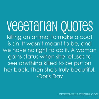 Doris Day Quote: Vegetarian Swagg, Animal Rights, Vegetarians Rule, Vegan Vegetarianism, Vegetarianism Quotes, Interesting Quotes, Day Quotes, Vegetarian Stuff, Coat