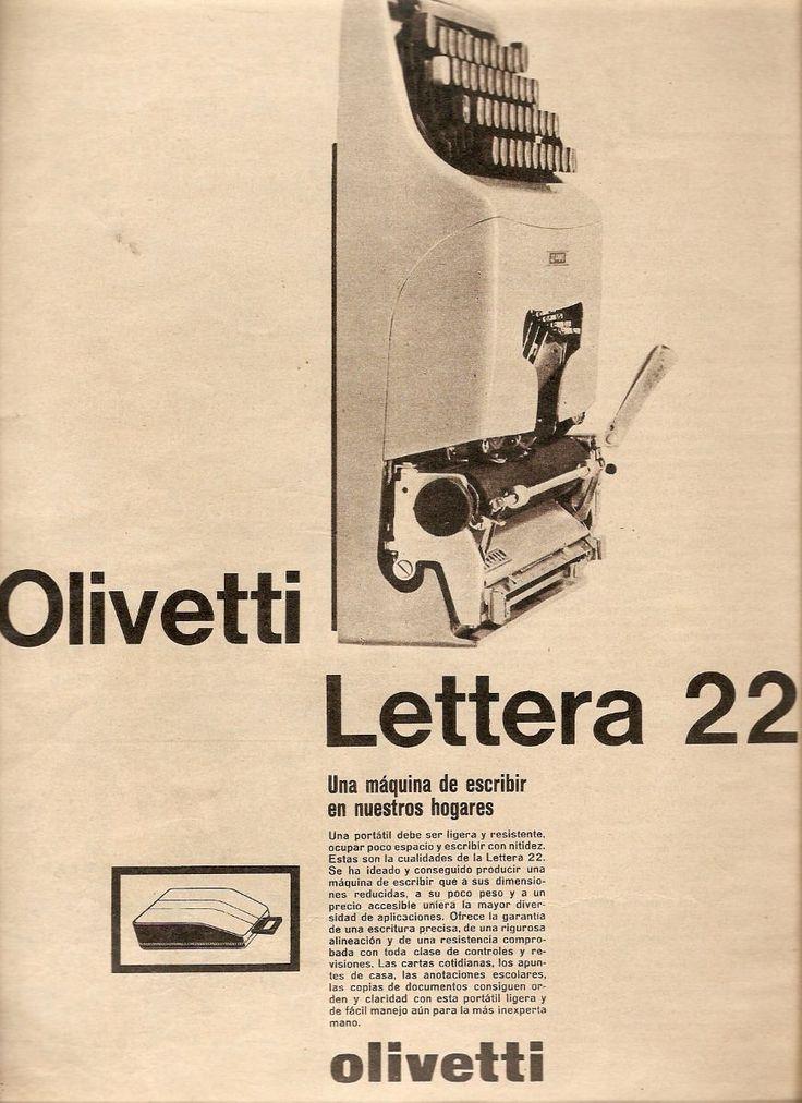 Publicidad Maquina De Escribir Olivetti Lettera 22 - $ 25,00 en MercadoLibre