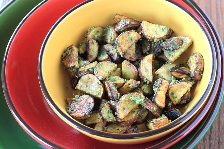 pesto grilled potatoes - greens & chocolate
