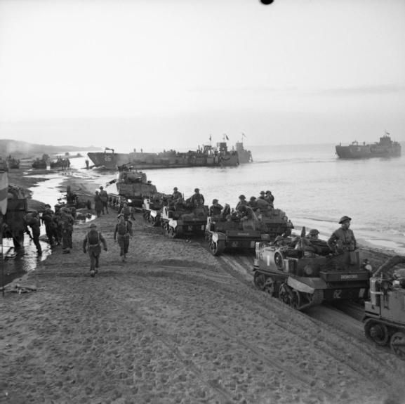 BRITISH ARMY ITALY 1944 (NA 11041) Universal carrier and Sherman tank on Anzio Beach, 22 January 1944.