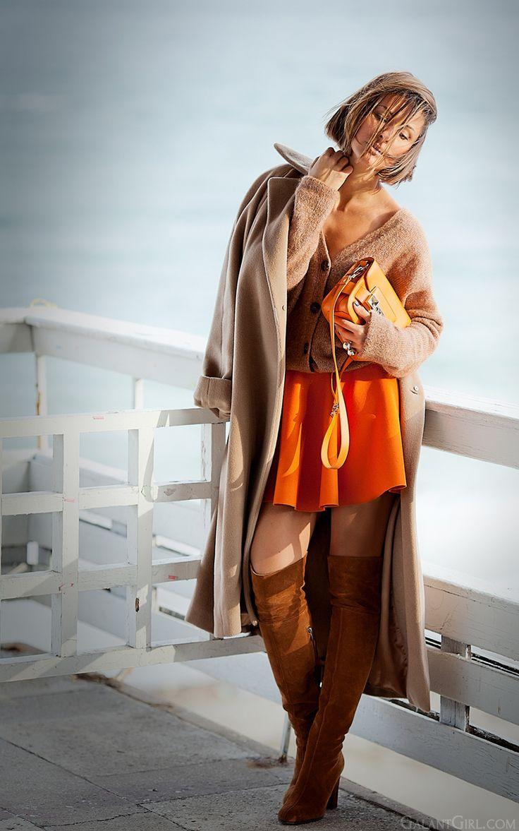 mini skater skirt in autumn outfit on galantgirlcom proenzaschouler overthekneeboots maxmaracoat