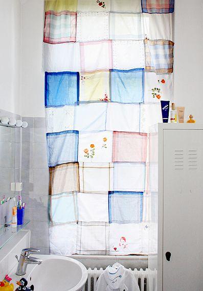 Trend Bastelidee mit Stoff Ein Vorhang aus Taschent chern Unser Rollo im Badezimmer