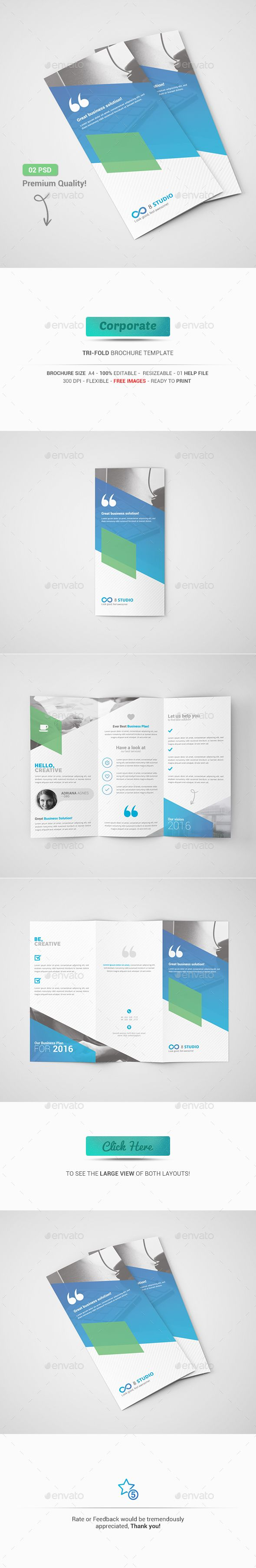 Tri-Fold Brochure Template PSD #design Download: http://graphicriver.net/item/trifold-brochure/13283007?ref=ksioks