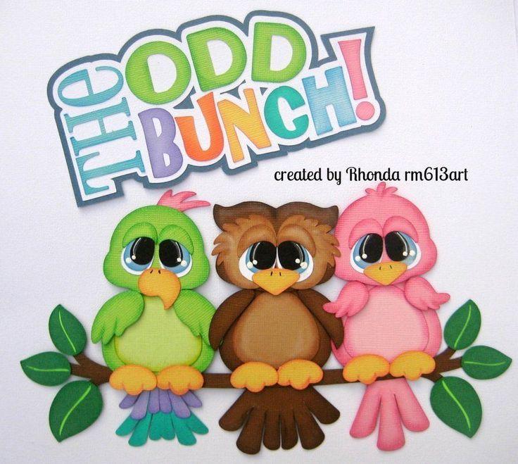 Odd Bunch Birds family paper piecing premade scrapbook page Rhonda rm613art