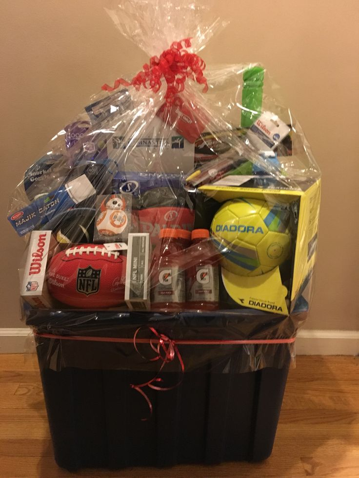 sports theme basket for school fundraiser  soccer