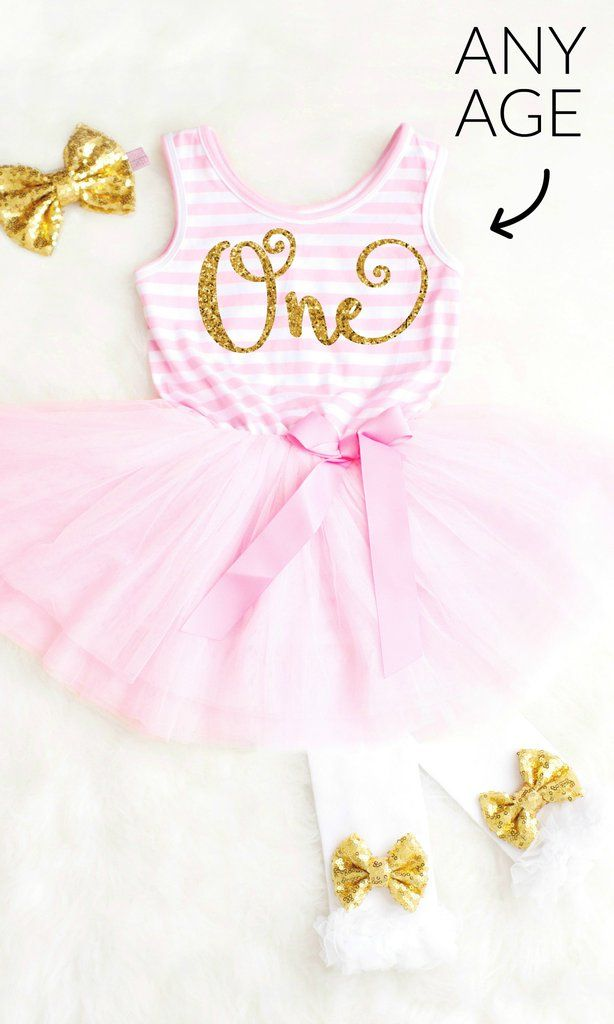 Pink and Gold First Birthday Dress, Pink and Gold First Birthday Tutu Outfit, Baby Girl 1st Birthday Dress Pink and Gold Cake Smash Outfit #firstbirthdaydress #firstbirthdayoutfit
