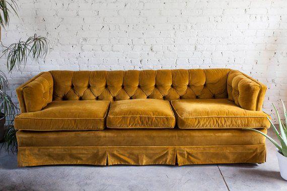 Mid Century Yellow Gold Velvet Tufted Sofa Mcm Velvet Tufted Sofa Tufted Sofa Gold Sofa
