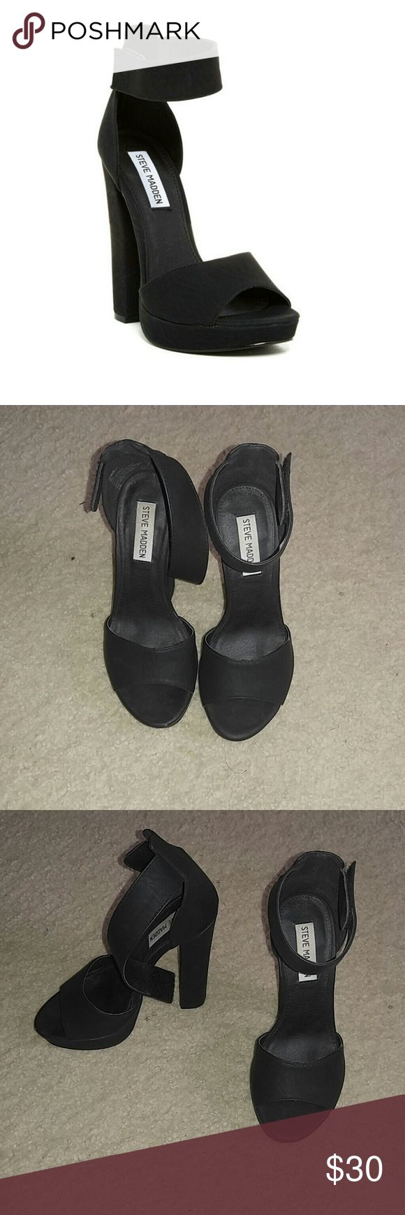 """Steve Madden Bombay Platform Hell Good condition . Sz 7.  - Open toe - hook-and-loop closure ankle strap closure - Approx. 5.25"""" heel, 7/8"""" platform - Imported Nick in leather disclosed Steve Madden Shoes Platforms"""