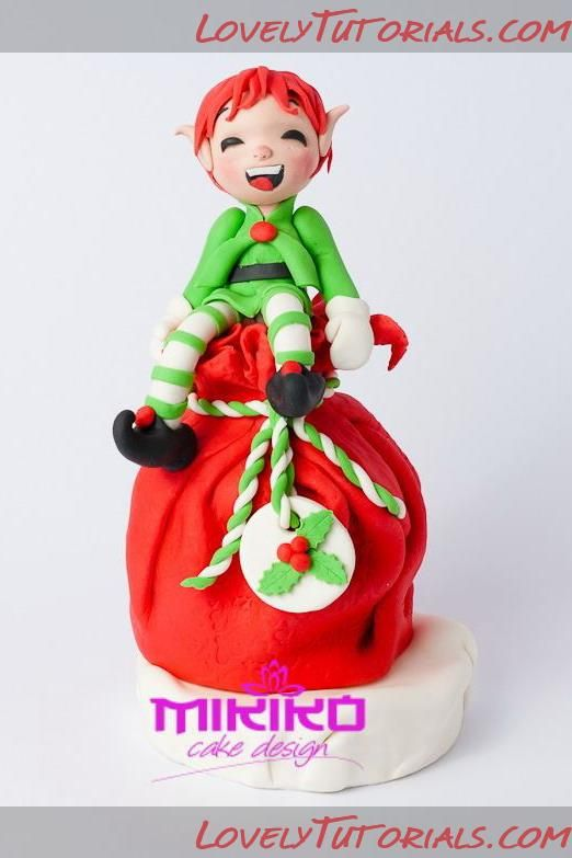 Elf with christmas gift cake topper tutorial