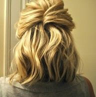 : Medium Length, Half Up, French Twists, Shorts Hairs, Hairs Tutorials, Hairs Idea, Cute Hairs, Hairs Styles, Shoulder Length Hair