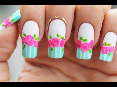 Decoración de uñas rosas vintage - Vintage roses nail art - YouTube