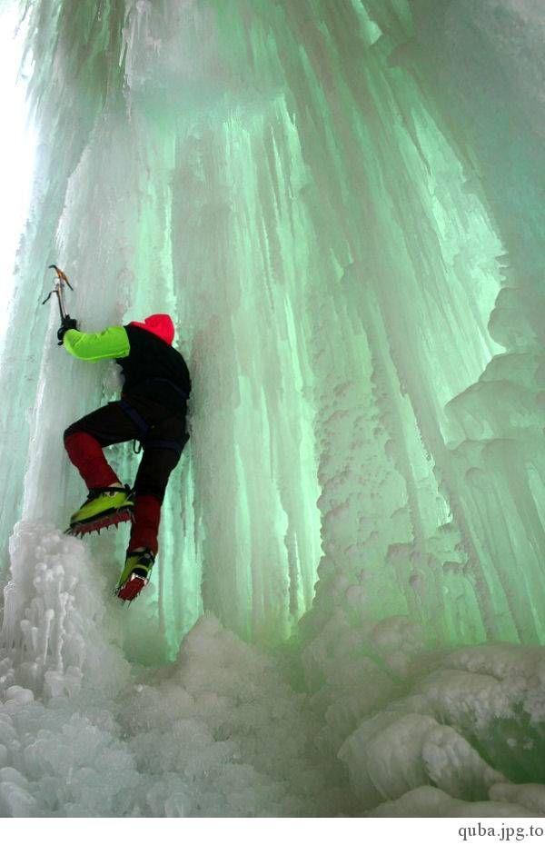 Nice Ice climbing photography.