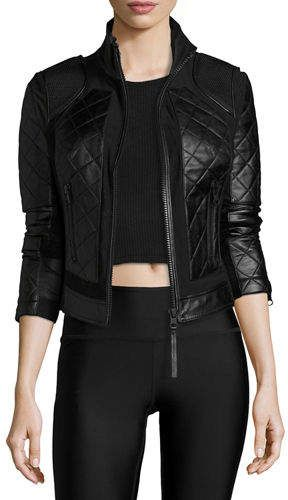 2e0d4aed9004 Blanc Noir Quilted Leather   Mesh Moto Jacket