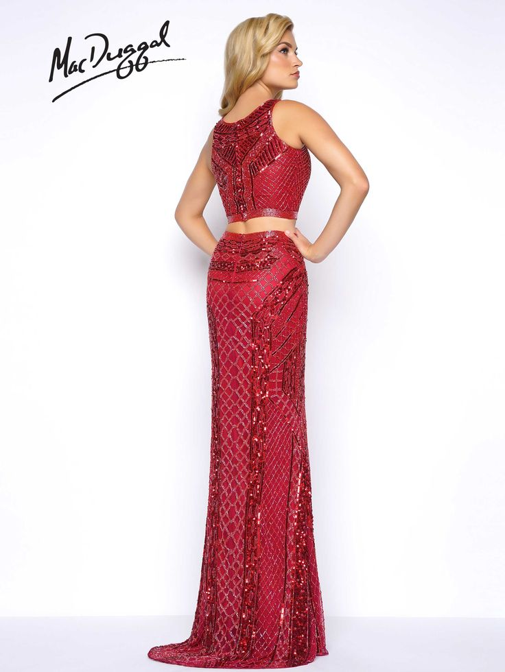 Sleeveless, two piece, beaded column prom dress with small train. Style 4486M is available in Burgundy or Indigo.