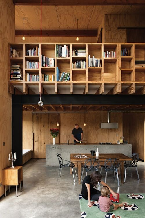 : Ladder, Libraries, Plywood Interiors, Bookshelves, Spaces, Houses, Living Dining Rooms, Books Shelves, Loft