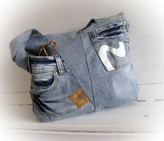 Borsa denim patchwork, borsa in jeans, borsa a mano denim, jeans riciclati