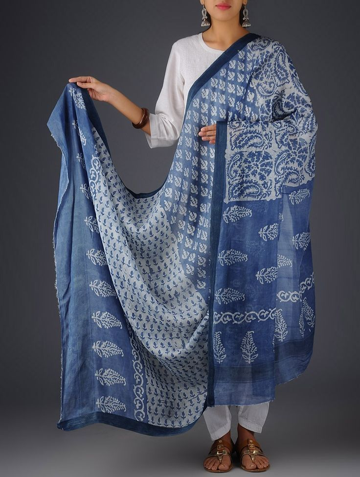 Buy Indigo-White Cotton Silk Leaf Block Printed Dupatta Online at Jaypore.com