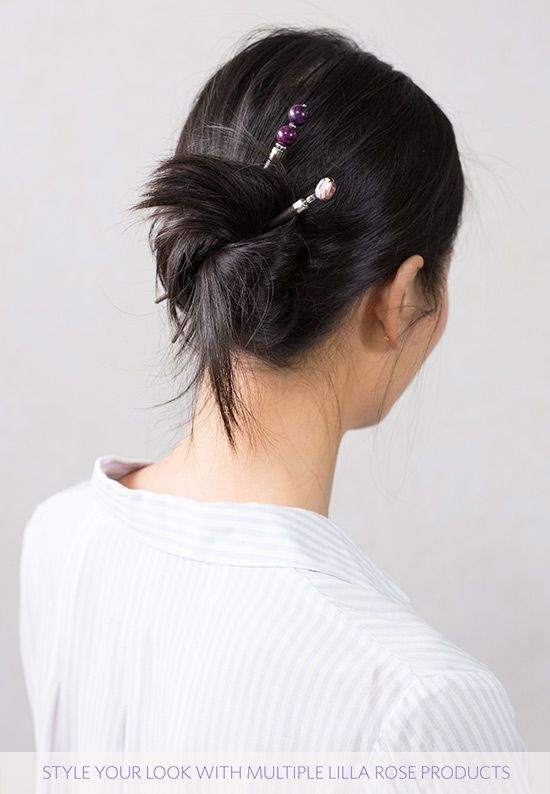 Cute and easy hairstyle for school or work. Messy bun with gorgeous beaded hair