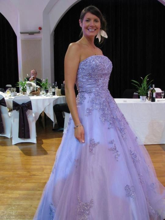 Lavender Wedding Dress Bridal Gown Strapless with Lace. $809.00, via Etsy.