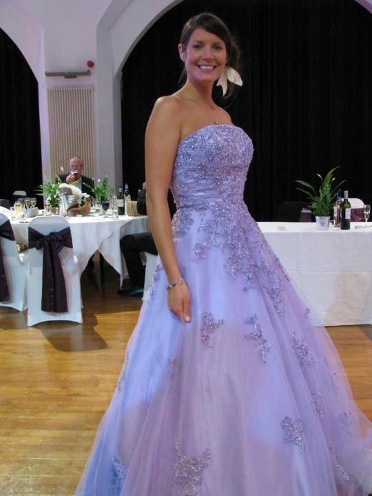 Lila bruiloft jurk Strapless met Lace A-line kleurrijke