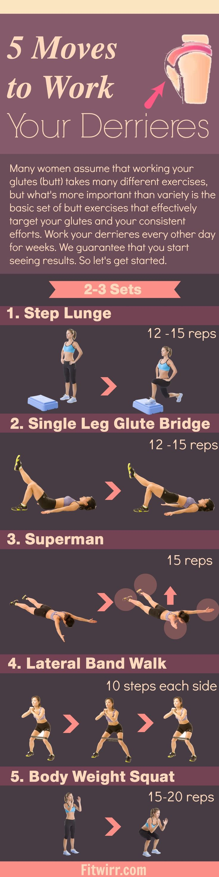 5 Glute Workouts to Work Your Derrieres: It only takes a set of simple butt moves to create your perfect backside. Squat, Lunge, Glute Bridge, and more.