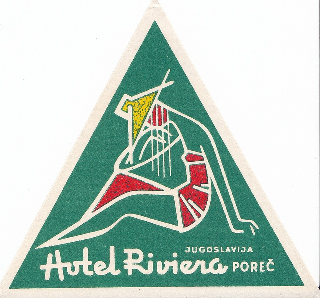 Hotel Riviera, Yugoslavian luggage label, 1960s