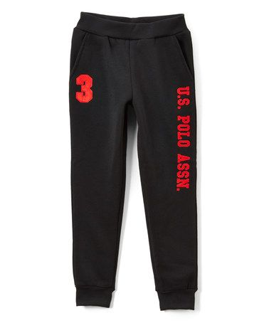 Look what I found on #zulily! Black & Red 'U.S. Polo' Sweatpants - Boys #zulilyfinds