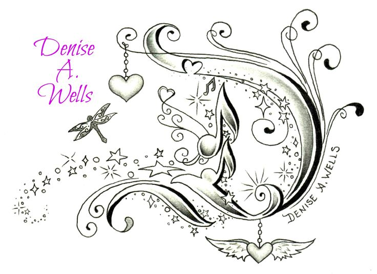 Fancy Letter D Tattoo Design By Denise A Wells Including Hanging Heart Charm And Winged Dragonfly