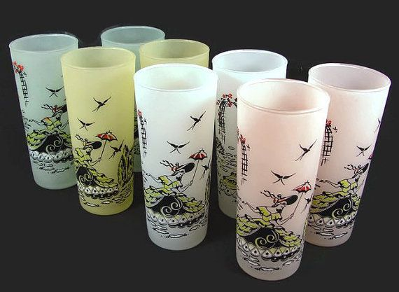 These 8 glasses are from Anchor Hocking in the Southern Belle pattern. 2 each of pink, white, yellow, and green. They are frosted glass with a southern belle in her yellow, black and white dress with a red and black hat and parasol. There are birds in the sky, a rose arbor to her left and bushes with a bird bath at the end of the stone path on her right. Great for serving your drinks at any party, for a gift or just to display in a retro kitchen.  DIMENSIONS: About 6-1/2 tall X 2-3/4 across…