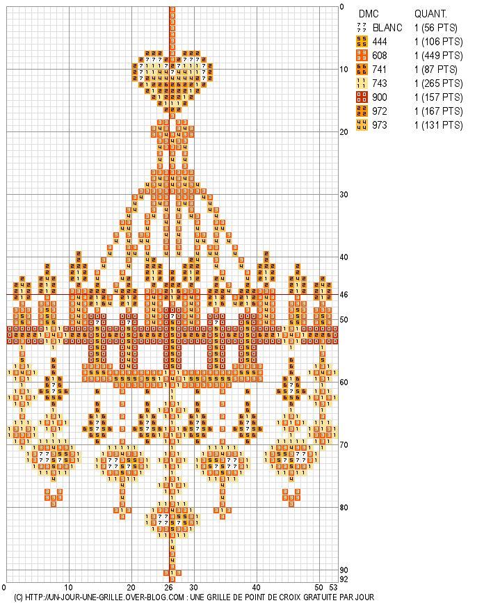 02/08/11 : Grille de point de croix gratuite - Lustre coeurs - un jour, une grille
