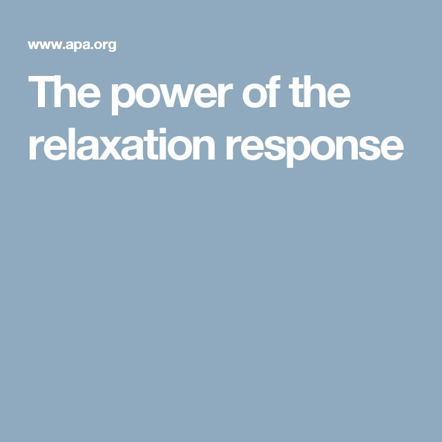 The power of the relaxation response