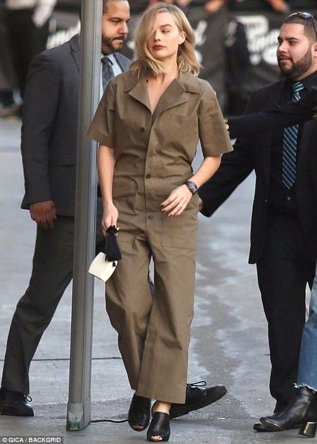 Jumping to it:Earlier in the day Margot looked radiant as she arrived for her interview on the talk show