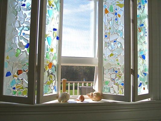 sea glass mosaic stained glass fused glass colored glass glass art