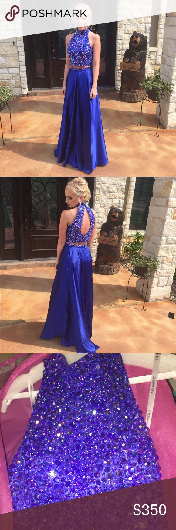 Sherri Hill Blue Two-Piece Prom Dress Only worn once, in great condition, definitely stands out with the Royal Blue/ Indigo Blue color. By far my favorite prom dress out of all 4 years!! I'm willing to negotiate the price :) Sherri Hill Dresses Prom