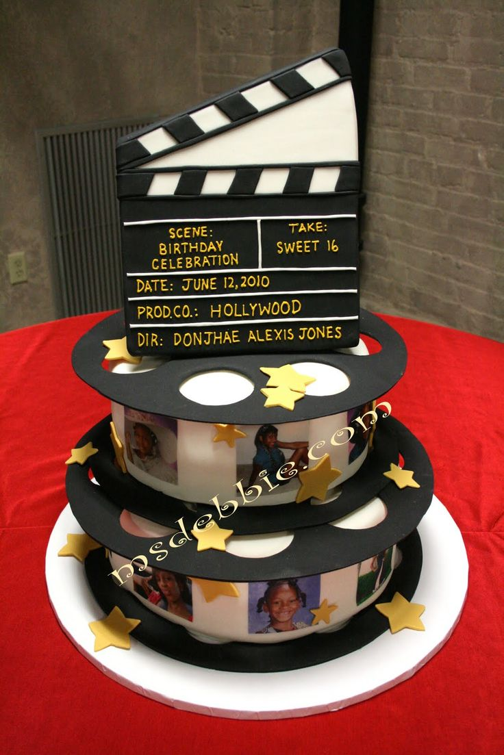 hollywood parties ideas   ... Lights, Camera, Action for this Hollywood Nights Theme Sweet 16 Cake