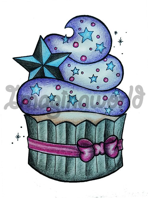 Starry Cupcake Tattoo by imaginaworld on DeviantArt