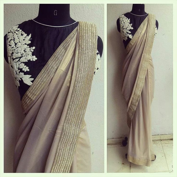 The rosette blouse with a shimmer georgette sari....coffee beige. Perfection.