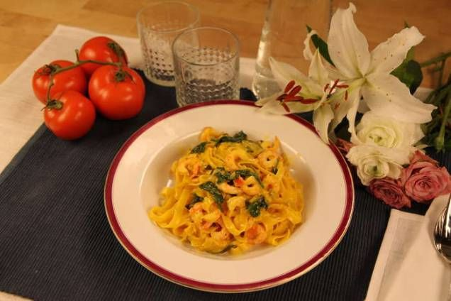 Lättlagad och lyxig pasta med räkor!
