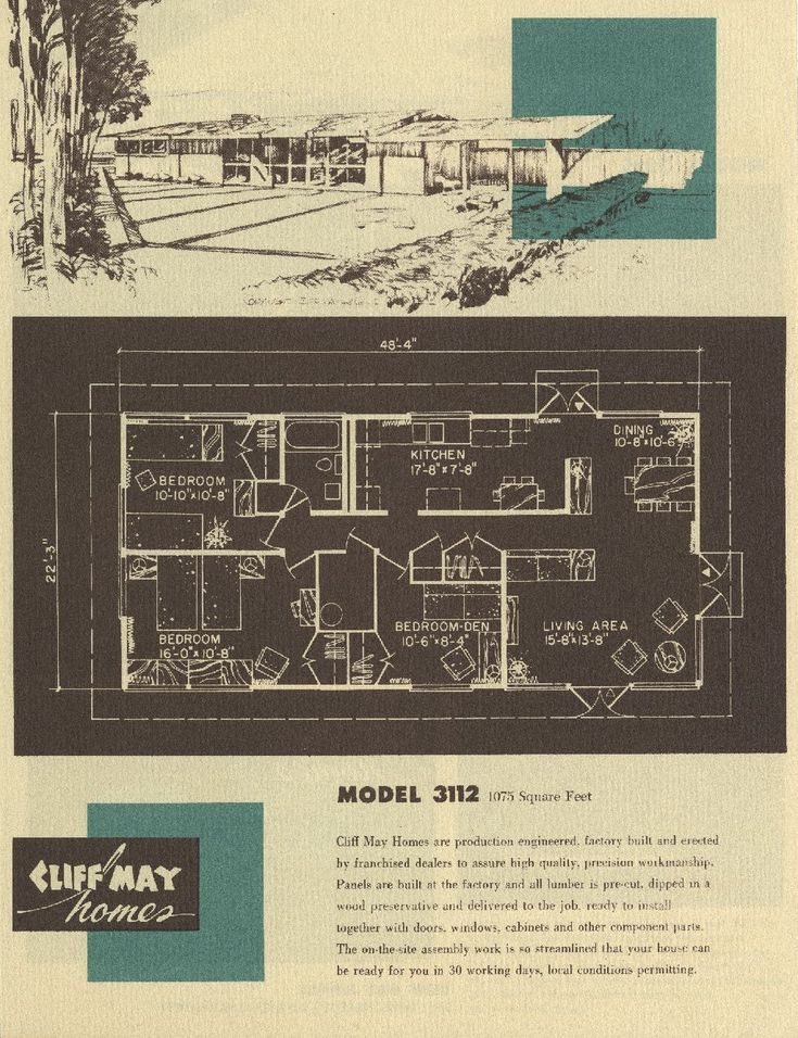Cliff May, 1908-1989, and Chris Choate, 1908-1981  Cliff May Homes leaflet, 1955  printed ephemera: 10 ⅝ x 8 ⅛ in.  (Cliff May Papers)