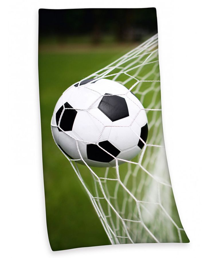 This soft cotton Football Beach Towel features a large photographic style image of a football hitting the back of the net. Free UK delivery available.