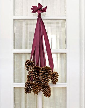 Pinecones hanging from ribbonThe Doors, Ideas, Fall Decor, Ribbons, Front Doors, Pine Cones, Christmas Decor, Holiday Decor, Wreaths